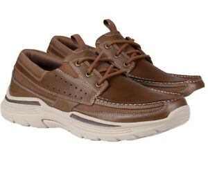 Skechers Men's Expended-Menson Leather Lace Up Boat Shoes Brown Relaxed Fit New