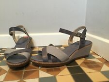 BN Timberland High heels sandals grey/ blue canvas womens shoes UK 5.5 EU 38.5