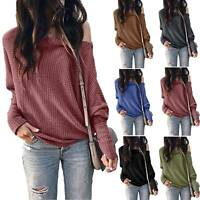 Women Knit One Shoulder T-Shirt Tops Loose Long Sleeve Baggy Pullover Tee Winter