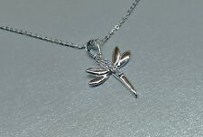 Sterling Silver Dragonfly Pendant with Cubic Zirconia Stones inset and Necklace