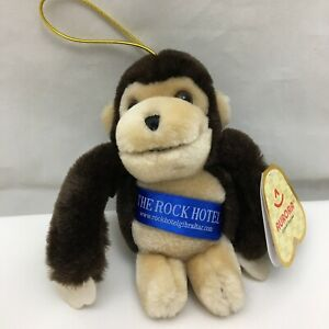 "The Rock Hotel Monkey Tan Brown Hangable NWT Aurora Plush 5.5"" Lovey Adv Toy"