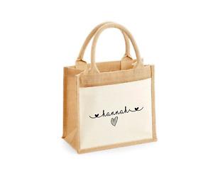 Personalised Small Jute Bag Lunch Bag Modern Heart Font Work Office School