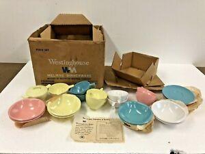 Vintage Westinghouse Melmac Set tea saucer bowl w Original Box newport boonton