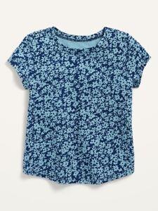 Old Navy Toddler Girl ~ Blue Floral ~ Short Sleeve T-Shirt ~ Size 12-18M - 5T