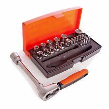 "Bahco Socket Set 25pcs 1/4"" Drive Compact Metric Ratchet Wrench Tool Kit SL25"