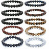Vintage 8mm Beads Natural Lava Stone Healing Bracelet For Men Women Jewelry