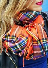 ZARA MAN ORANGE  MULTICOLOURED CHECKED TARTAN PLAID FRINGE SHAWL SCARF NEW