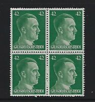 MNH  Adolph Hitler stamp block / 1944 PF42 / Original Third Reich Germany Block