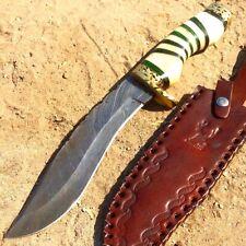 "13"" Damascus Blade Hunting Knife White & Green Handle Leather Sheath"