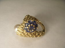 Gorgeous Art Deco 14K Yellow Gold South Sea White Pearl Sapphire Ring