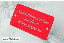 WARNSCHILD Hinweisschild Türschild - 72x38mm Alu rot eloxiert - mit WUNSCHGRAVUR