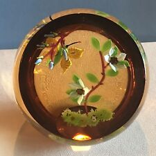 """William Manson """"Sunset Flight"""" Butterfly and Flowers Faceted Ltd Ed Paperweight"""