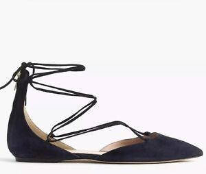 J. Crew Suede Lace-Up Pointed Toe Flats Navy Blue Grey  Size 8.5  Never Worn