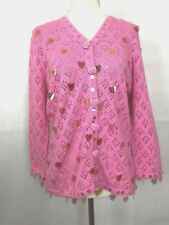 Jack B Quick Cardigan Sweater Womens Size Small Pink Embellished Hearts