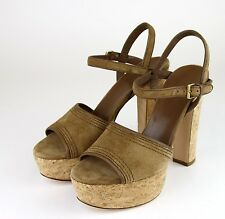 $595 New Authentic Gucci Danielle Suede Cork Platform Sandal, 41.5/11.5, 309974