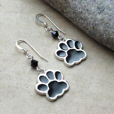 *SJ1* Dog Cat Paw Sterling Silver Hook Dangle Earrings w/ Swarovski Crystal