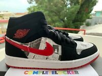 New Nike Jordan 1 Mid Newspaper Air Times Black Gym Red 852542-061 Men Retro 8