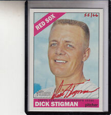 "2015 TOPPS HERITAGE DICK STIGMAN ""INDIANS/RED SOX/TWINS"" RED /66 AUTOGRAPH AUTO"