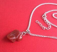NEW! Carnelian Gemstone Frog Unique Pendant Necklace Women's - Aussie Seller!!!