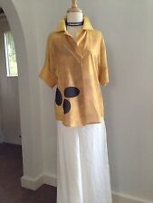 AKRIS PUNTO Switzerland Modern Art $1.1K Yellow Blouse with Art Detail M 38 36