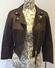 H&M - Dark Brown 100% Leather Cropped Biker Jacket.  Size 36