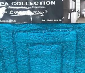 new 2 piece  bath mat set cotton absorbent bathmat ultra soft rug aqua blue