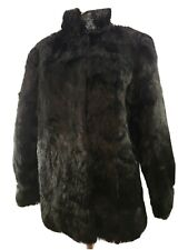 Vintage McGraw Furs Black Rabbit Fur Coat Stroller Satin Lined - Sz Medium