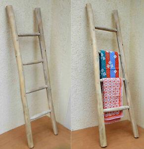 Holzleiter, Leiter aus Holz, Anlegeleiter aus Teakholz, Handtuchhalter, 150cm (2