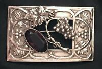 Antique Sterling Silver Grape Cluster Leaf Vine Brooch Art Nouveau Pin Vtg Napa
