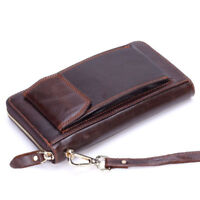 Mens Long Genuine Leather Wallet Zipper Purse Clutch ID Card Money Phone Holder