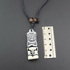 Cord Yak Tribal Bone Cool White Adjustable Necklace Tiki Pendant Totem Blessing