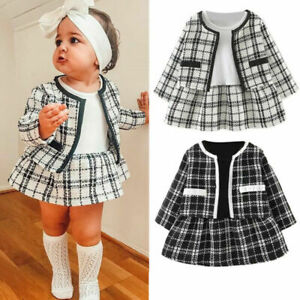 Kids Baby Girls Winter Clothes Long Sleeve Plaid Coat Tops+ Dress Formal^Outfits