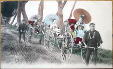 1910 Postcard: Japanese Geisha Girls in Rickshaws-Japan