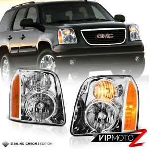 For 07-14 GMC Yukon XL 1500 Denali Chrome Front Headlight Assembly LH+RH Side