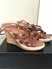 NEW New York & Company Brown Strappy Wedge Ankle Strap Sandals Women's Size 8