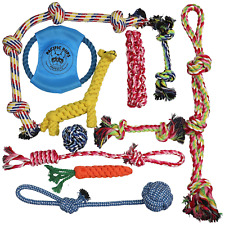 DOG ROPE TOYS FOR AGGRESSIVE CHEWERS – SET OF 11 NEARLY INDESTRUCTIBLE DOG TOYS