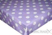 Lilac Purple Polka Dot PVC Tablecloth Vinyl Oilcloth Kitchen Dining Table