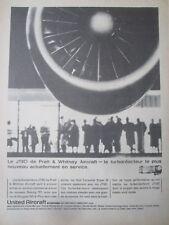 9/1964 PUB PRATT & WHITNEY JT8D ENGINE BOEING DOUGLAS CARAVELLE FRENCH AD