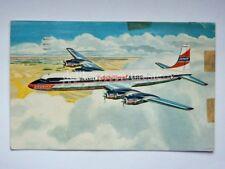 AEREO BRANIFF INTERNATIONAL AIRWAYS airplane Douglas DC 7C USA old postcard