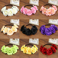 Ladies Crown Floral Rose Flower Headband Hairband Wedding Hair Garland Headpiece