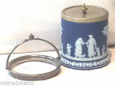 ❤WEDGWOOD JASPERWARE PROJECT FIX IT HANDLE BLUE DIP BISCUIT TEA BARREL JAR 1891❤
