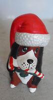"Vintage Ceramic Christmas Sitting Puppy Dog Figurine 4"" Tall"