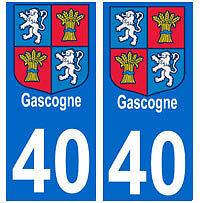 stickers autocollants plaques immatriculation auto Gascogne 40 Landes