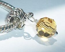 Champagne Yellow Faceted Crystal Dangle Bead for Silver European Charm Bracelet