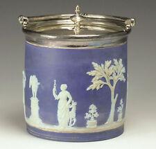 19th century Blue Wedgwood Jasperware Biscuit Jar w/ Silverplate Lid & Handle