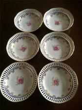 6 x VINTAGE MARIA THERESA BAVARIA PIERCED EDGE BOWLS FLORAL ROSE & GOLD PATTERN