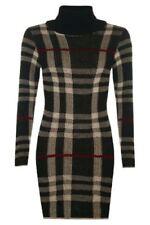 New Womens Ladies Polo Neck Tartan Knitted Midi Long Sleeve Bodycon Jumper Dress
