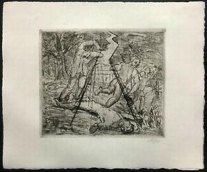 HEINSHEIMER Hand Signed ~ GERMAN EXPRESSIONIST ~ Etching Judaica DEGENERATE