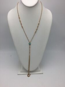$34.50 Lucky Brand  rose gold Turquoise  Y necklace B36