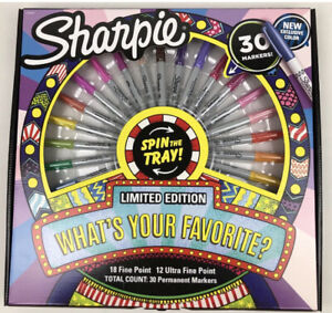 Limited Edition Sharpie 30 Markers SPIN THE TRAY WHEEL NEW FINE POINT ULTRA FINE